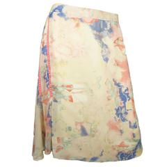 Christian Lacroix Silk Pastel Watercolor Skirt