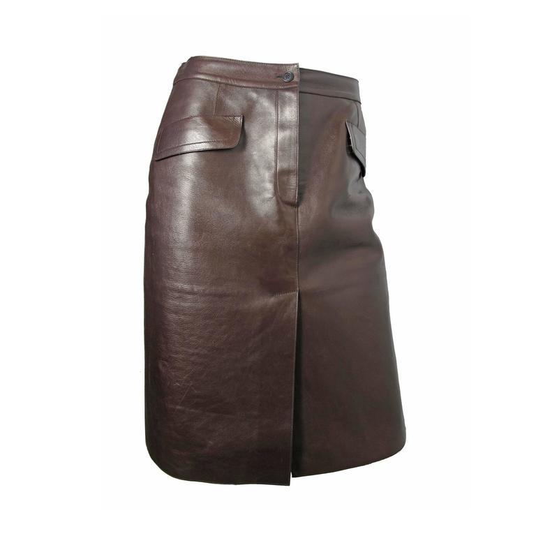 Prada Brown Leather Skirt 1