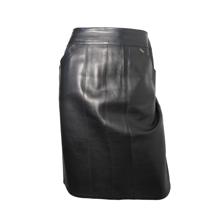 Chanel Black Leather Skirt