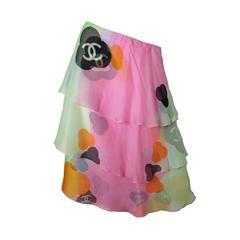 Chanel Silk Tiered Skirt