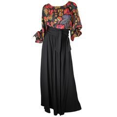Oscar de la Renta Long Crepe Skirt and Floral Peasant Top
