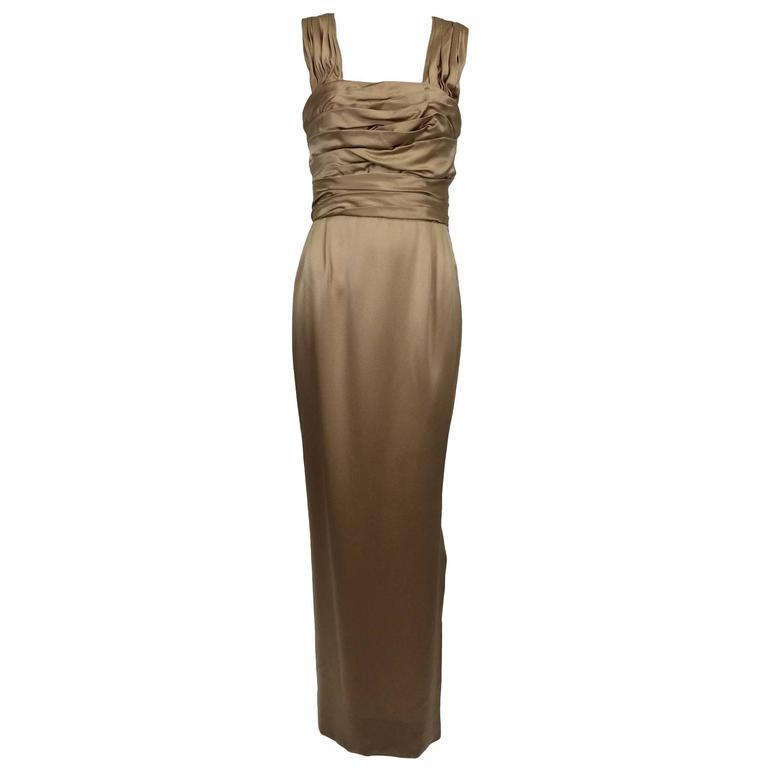 James Galanos pale gold hammered silk satin shirred bodice goddess gown 1990s