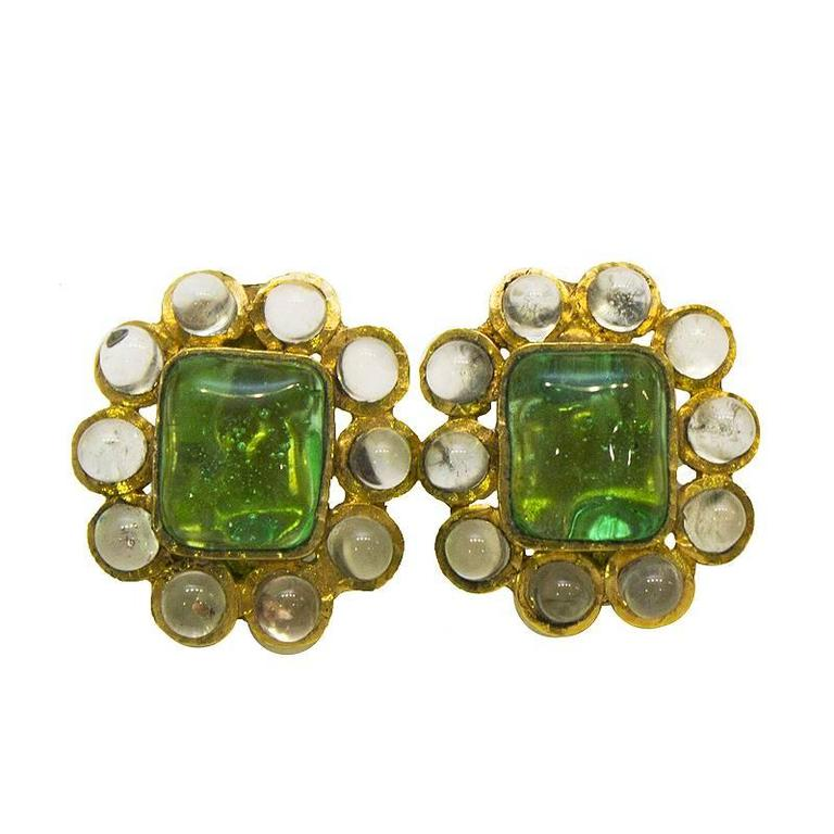1960's Chanel Green Poured Glass Earrings  For Sale