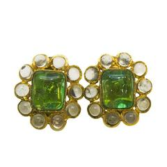 1960's Chanel Green Poured Glass Earrings