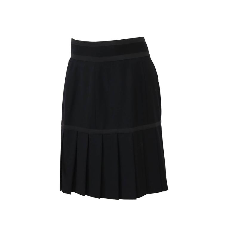 chanel black pleated wool skirt for sale at 1stdibs