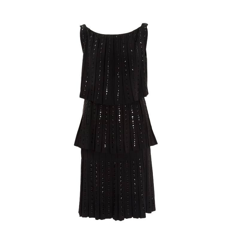 6b601fce1e3f 1960s Norman Hartnell for Neiman Marcus Black Wool Beaded Dress For Sale at  1stdibs