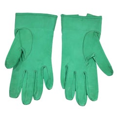 Chanel Green Leather Gloves