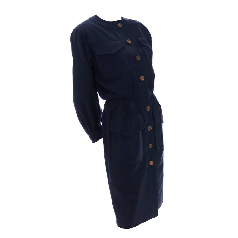 Vintage YSL Dress 1980s Navy Blue Wool Yves Saint Laurent Rive Gauche