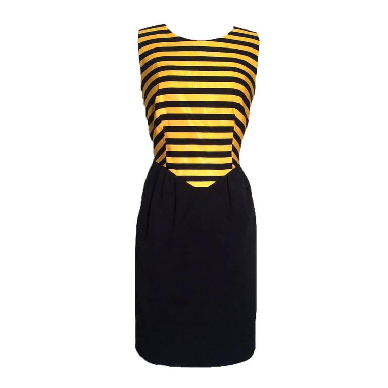 Moschino Cheap & Chic  1980s Yellow & Black Bumble Bee Stripe Dress For Sale