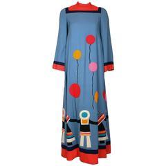 1970s Malcolm Starr by Rizkallah Maxi Dress w/Felt Applique Children & Balloons