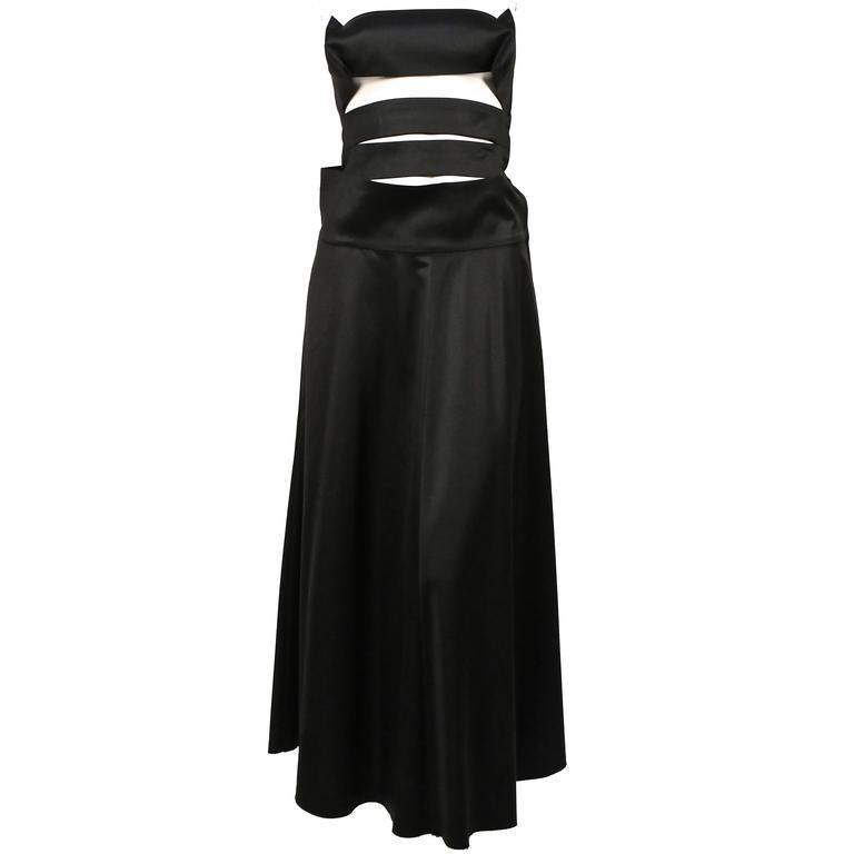 2003 YOHJI YAMAMOTO strapless black runway dress with cut outs