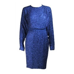 STEPHEN YEARIK Royal Blue Silk Beaded Skirt Ensemble Size 4-6