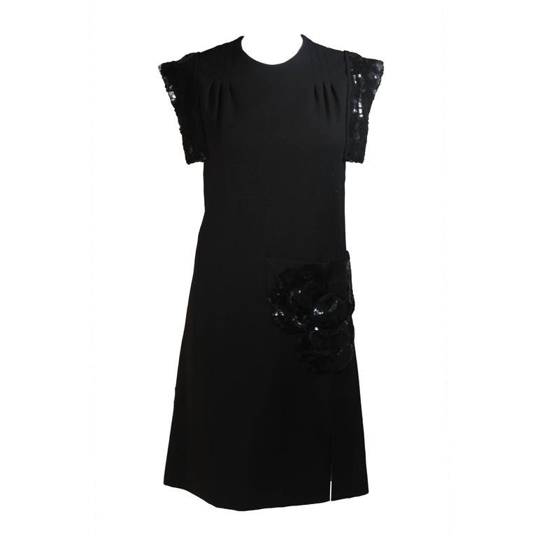 CARVEN COUTURE PARIS 1960's Black Sequin Dress with Structured Shoulders Size 2