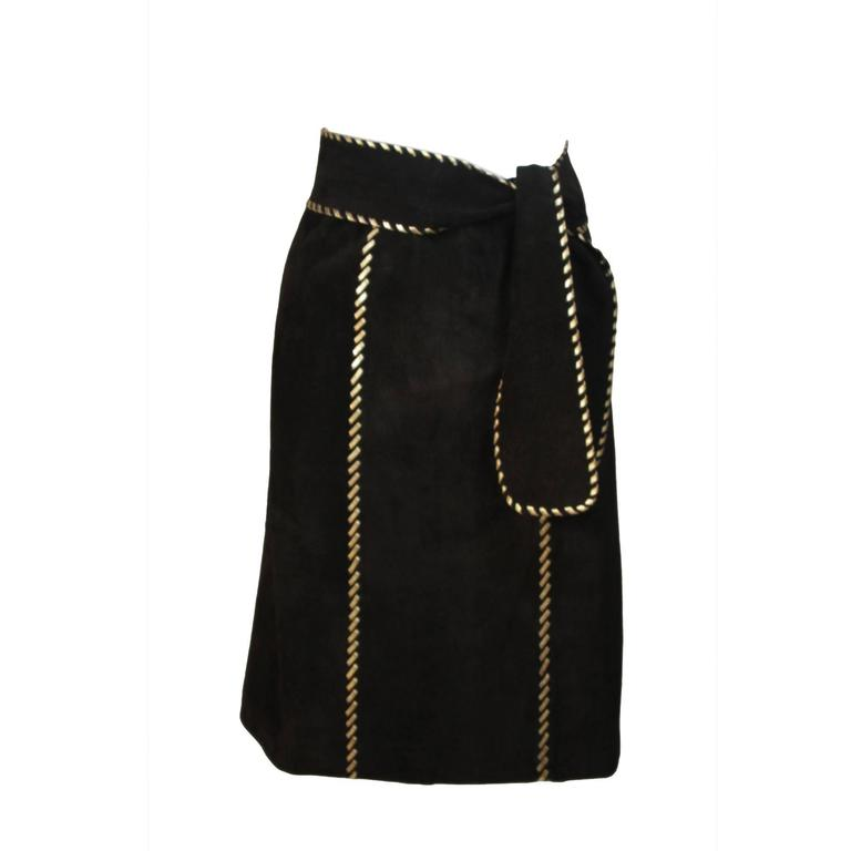 YVES SAINT LAURENT Black Suede Skirt with Gold Detail and Belt Size 36