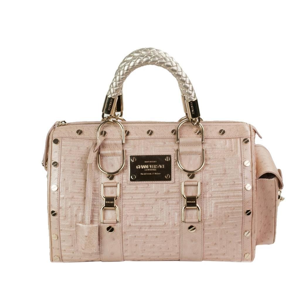 71c6d6f3fcda Gianni Versace Couture Powder Pink Ostrich Bag at 1stdibs