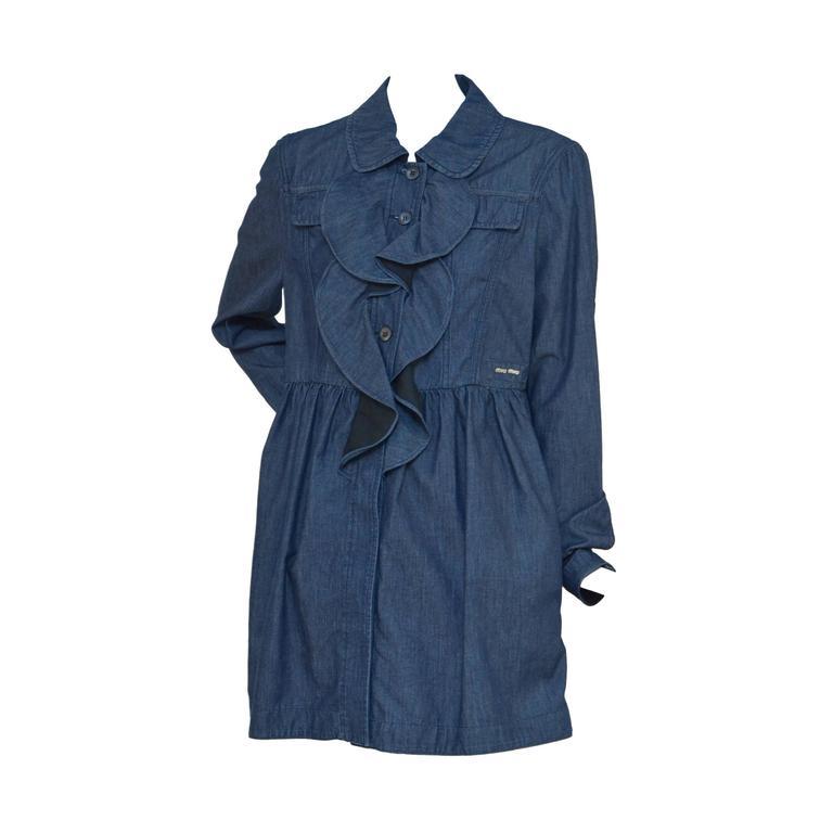 Miu Miu Denim Dress Coat  New   44
