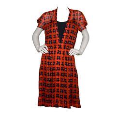 Chanel Floral & CC Print Silk Pleated Short Sleeve Dress sz 40