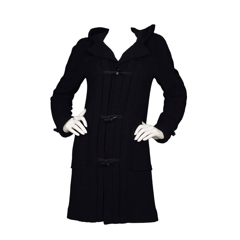 Chanel Navy Pleated Toggle Front Coat sz 38 For Sale
