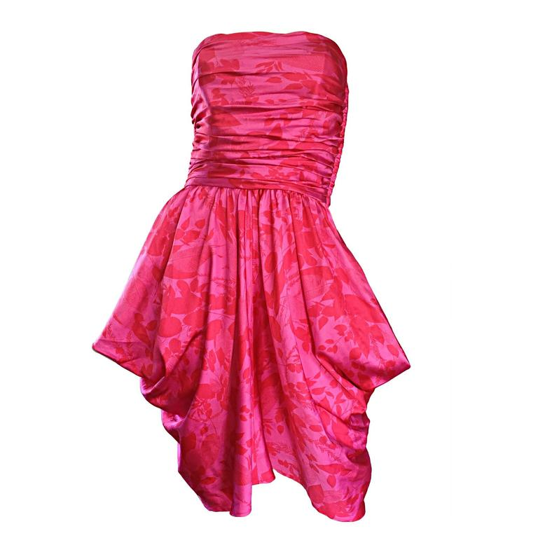 Vintage Victor Costa Hot Pink + Red Avant Garde Strapless Ruched Dress 1