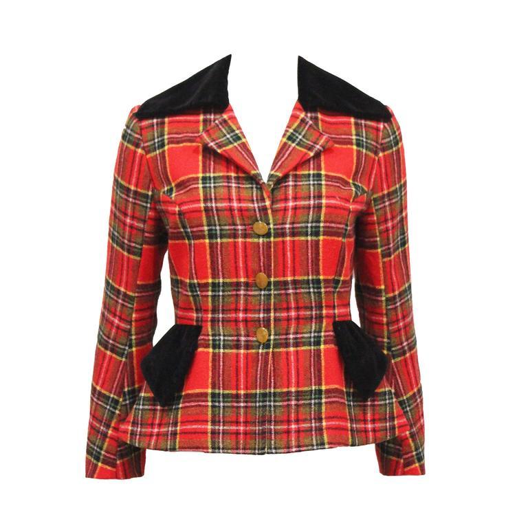 Vivienne Westwood tartan and velvet tailored jacket, c. 1994