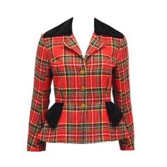 Vivienne Westwood tartan and velvet tailored jacket, c. 1994