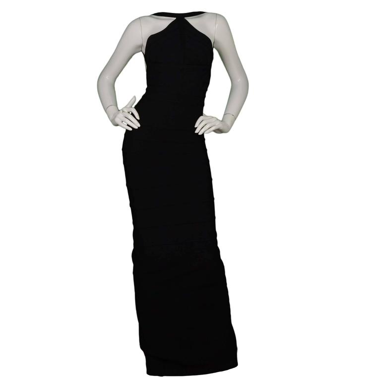 Herve Leger Black Bandage High Neck Halter Gown Dress sz M 1
