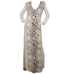 Haute Hippie Snakeskin Print Sleeveless Maxi Dress