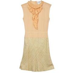 Chanel Peach Silk & Tweed Dress sz FR40