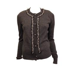 Chanel Grey Cardigan with Glass Beads