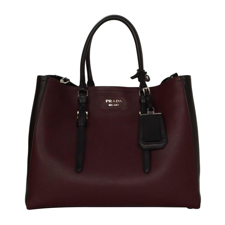 Prada '15 Black & Burgundy Calfskin City Double Tote SHW 1