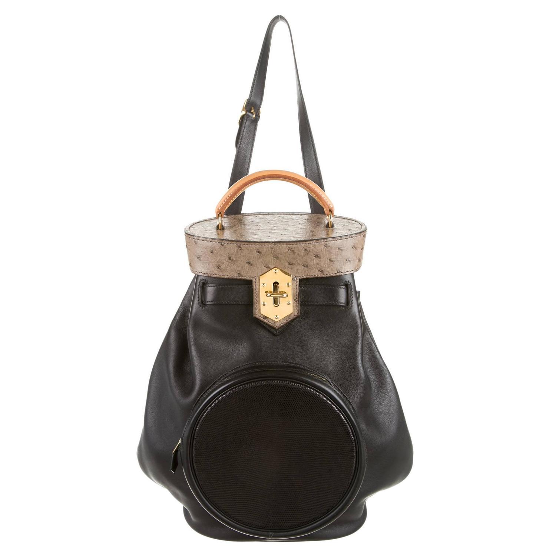 hermes birkin replica bag - Hermes Ostrich Leather Black Tan Gold Hardware Top Handle Bucket ...