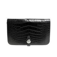 Hermès Black Alligator Dogon Wallet