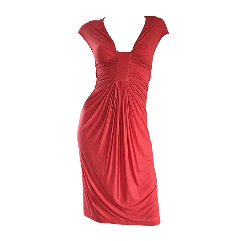 Donna Karan Collection Coral Pink Vintage 1990s Ruched Grecian Cocktail Dress  For Sale