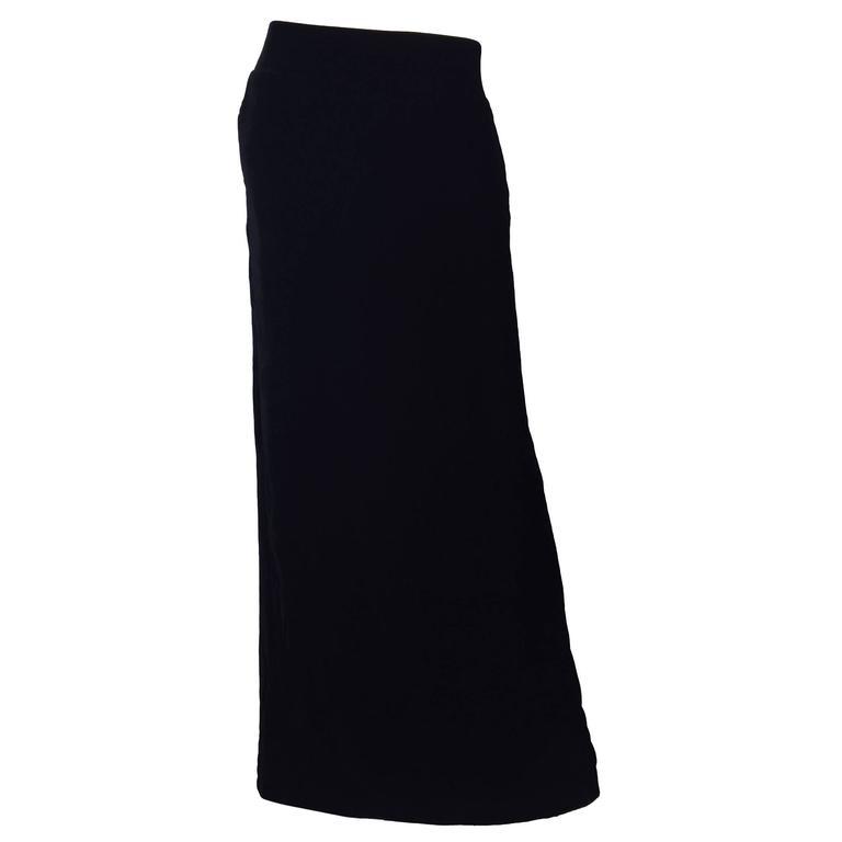 Tom Ford for Gucci Black Silk Velvet 1990s 90s Vintage Full Length Maxi Skirt