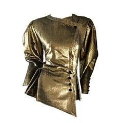 Amazing Vintage Emanuel Ungaro Couture Gold Metallic Avant Garde Peplum Jacket