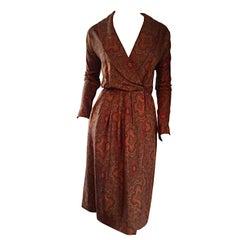 Beautiful Vintage Carolyne Roehm Paisley Silk Autumnal Shawl Collar Wrap Dress