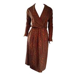 Beautiful Vintage Carolyne Roehm Paisley Silk Autumnal Shawl Collar Wrap Dress