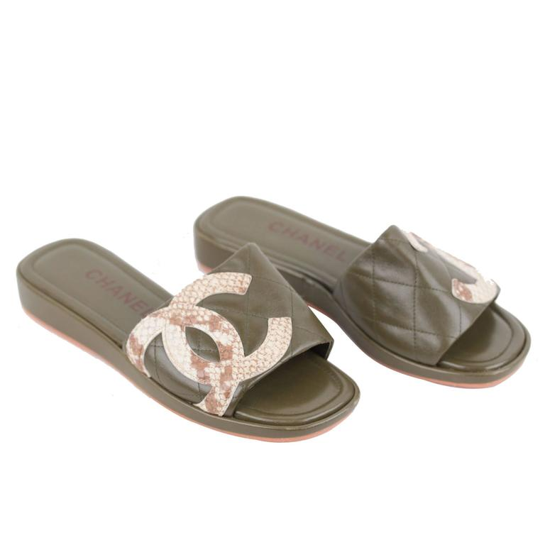 Chanel Military Green Leather Cambon Slides Flat Shoes
