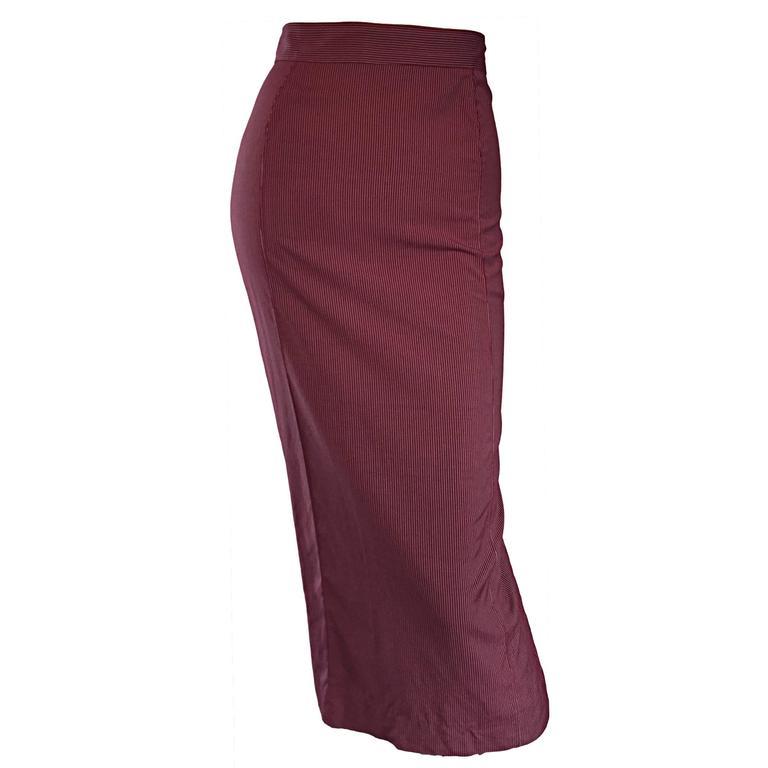 Rare Vintage Jean Paul Gaultier Burgundy Pinstripe Sexy High Waist Pencil Skirt 1