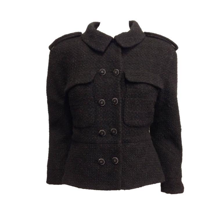 Chanel Black Tweed Military Jacket