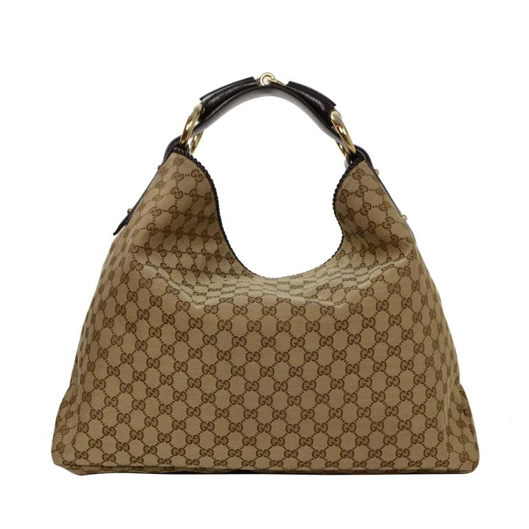 34720f4913b47b Gucci Tan Monogram Large Horsebit Hobo Bag at 1stdibs