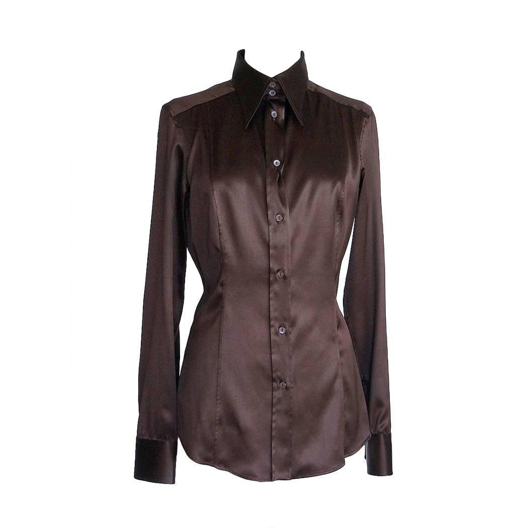 Dolce&Gabbana Top Rich Brown Silk Stretch Shirt  44 fits 8 nwt