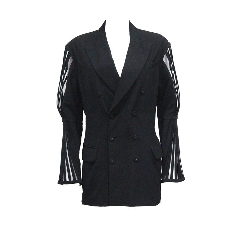 Jean Paul Gaultier double breasted blazer jacket with caged sleeves, c. 1989 For Sale