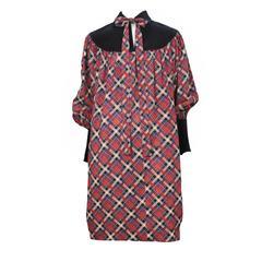 Yves Saint Laurent Pink Plaid & Black Velvet Dress