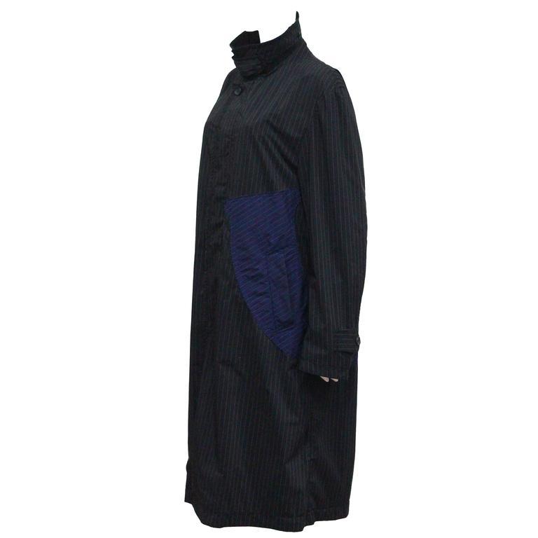 Issey Miyake pinstripe windbreaker coat, c. 1990s