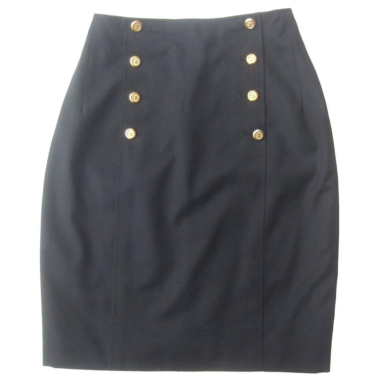 Chanel Boutique Dark Blue Wool Pencil Skirt with Chanel Buttons c 1990s 1