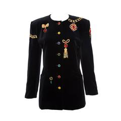 Escada by Margaretha Ley Black Embellished Velvet Jacket, Circa 1980's