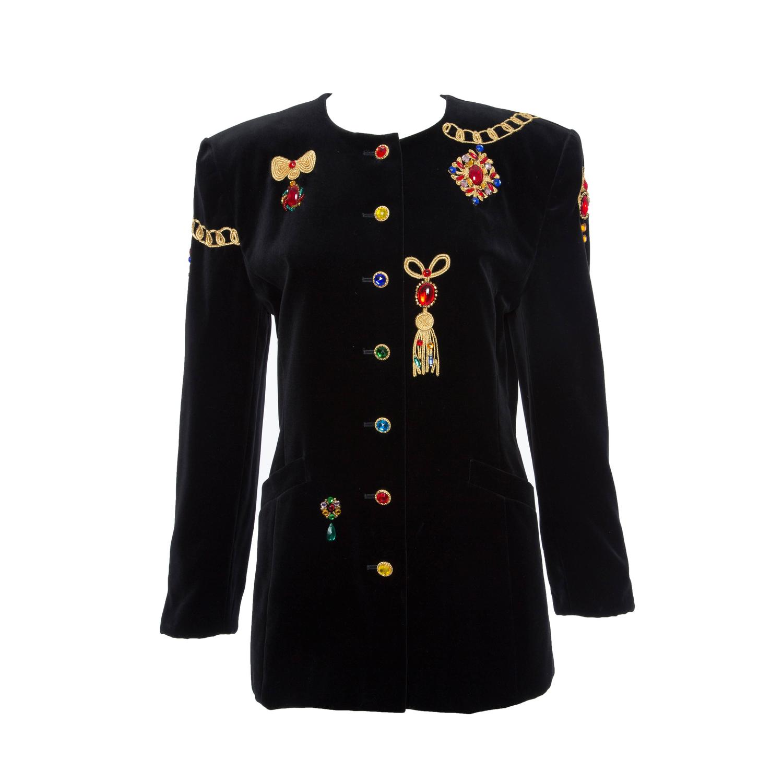 d23843f2d3e4f Escada by Margaretha Ley Black Embellished Velvet Jacket