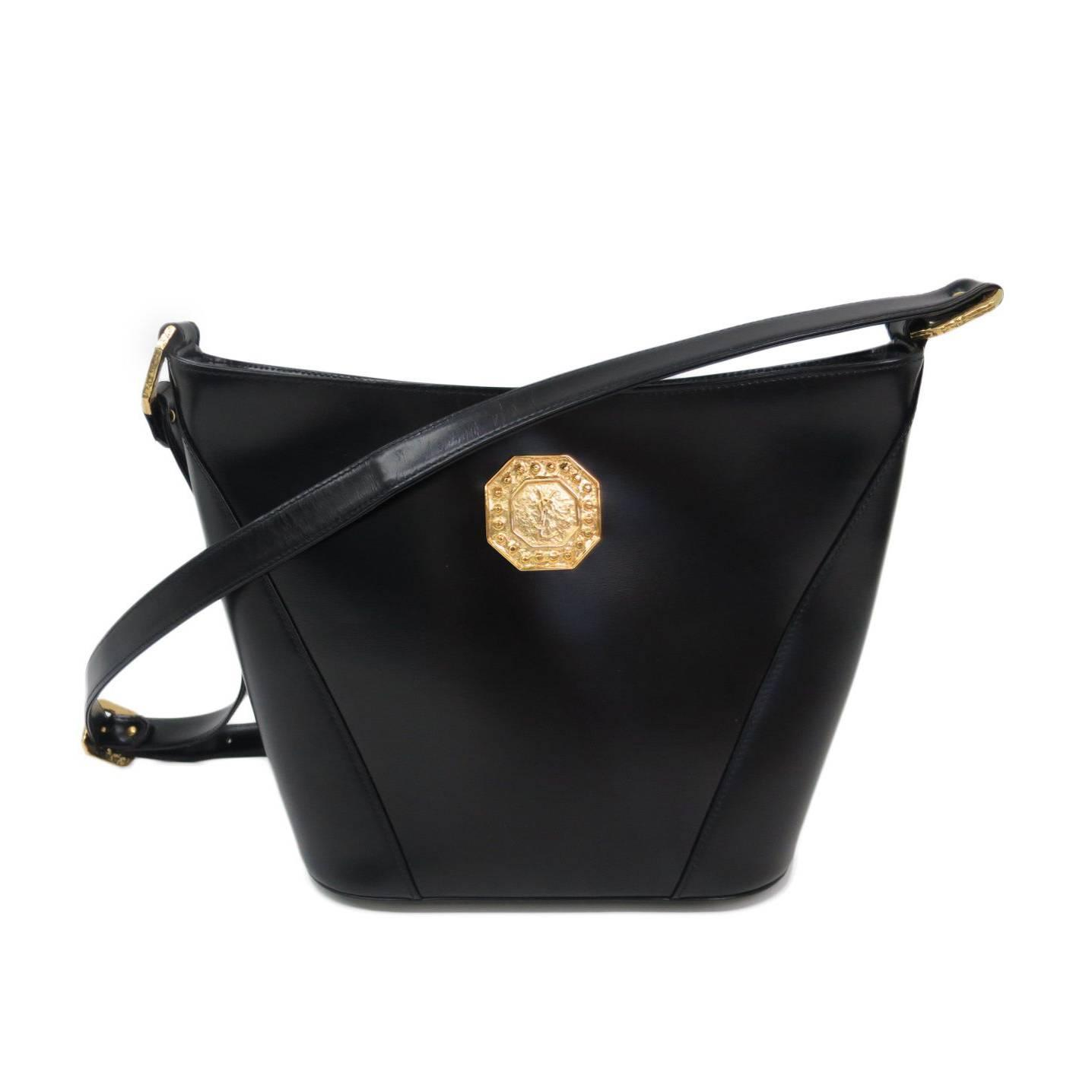 Yves Saint Laurent YSL Black Leather and Gold Hardware Bucket ...