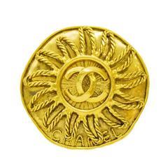 1994 Chanel Gold CC Sun Pin
